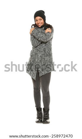 Woman in winter clothes - stock photo