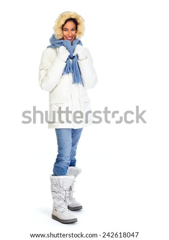 Woman in winter coat isolated on white background