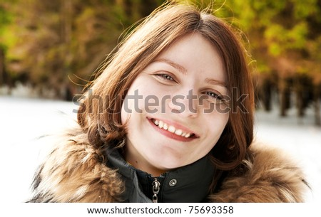 woman in winter park - stock photo