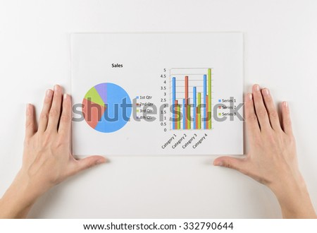 Woman investment consultant analyzing company annual financial report balance sheet statement working with documents graphs. Stock market, office, tax, education concept.  Hands with charts papers - stock photo