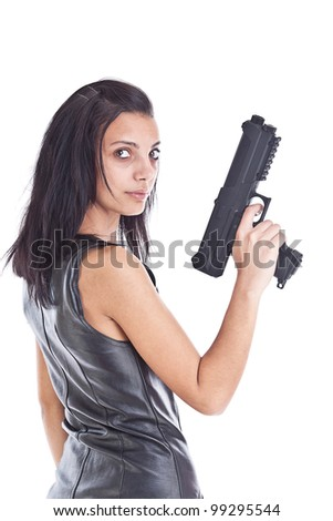 Woman is aiming a handgun, isolated on white - stock photo