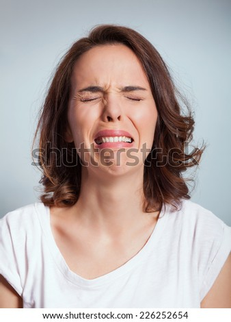 Woman is crying - stock photo