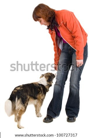 woman is dog training