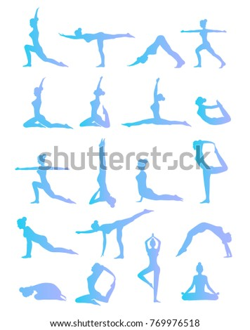 Woman is doing yoga positions. Female yoga illustration set. Woman's silhouette.