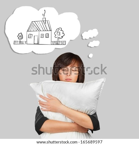 Woman is dreaming about home