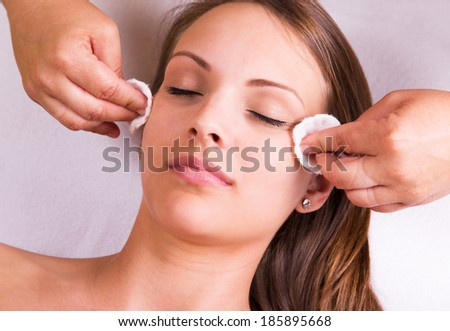 Woman is having cosmetic treatment at beauty salon. - stock photo