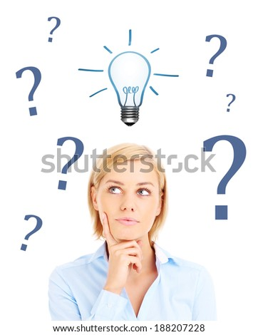 Woman is having question to idea over white background