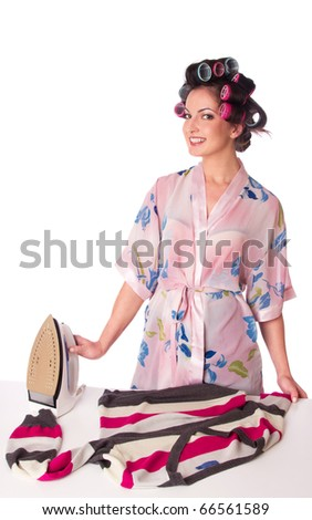 woman is ironing clother. Isolated at white