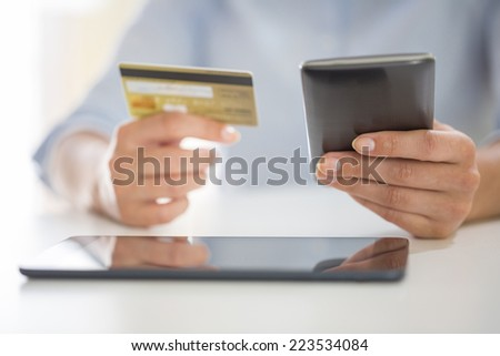 woman is shopping on the internet with smart-phone and credit card
