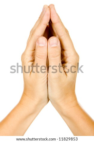 Woman is showing a sign with his hands on a white background