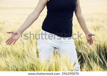 Woman is smoothing the wheat cobs in the field. Body part.