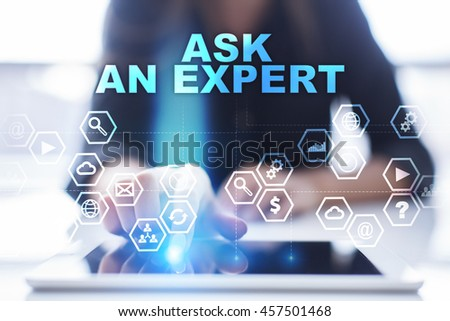 "Woman is using tablet pc, pressing on virtual screen and select ""Ask an expert"". - stock photo"