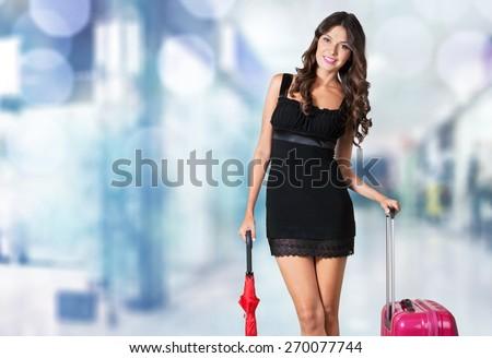 Woman, isolated, adventure. - stock photo