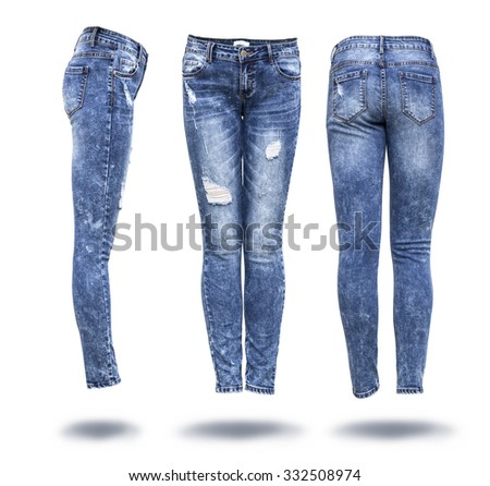 woman jeans in white background  - stock photo