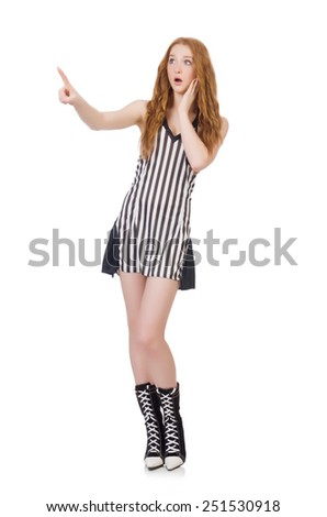 Woman judge isolated on the white - stock photo