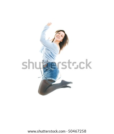 Woman jumping. Isolated over white.