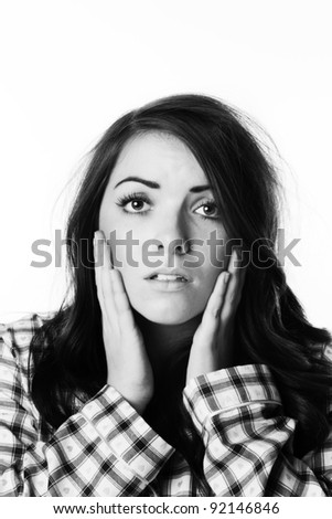 woman just got up wearing pajamas having a bad hair day - stock photo