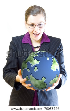 Woman keeps green planet in her hands