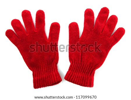 woman knitted gloves, isolated on white - stock photo