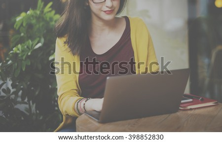 Woman Laptop Browsing Searching Social Networking Technology Concept - stock photo