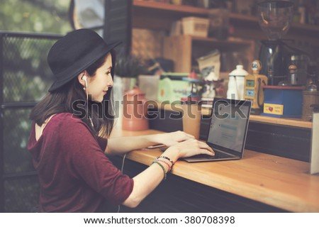 Woman Laptop Global Communications Social Networking Technology Concept - stock photo