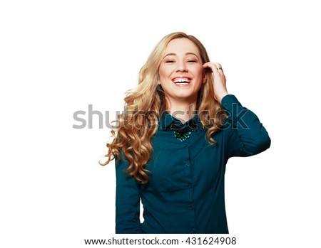 Woman laughing with eyes closed isolated on white - stock photo