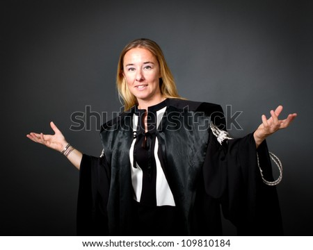 woman lawyer gesturing with hands - stock photo