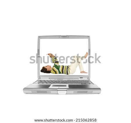 Woman Laying down holding hand held device looking up on laptop computer screen isolated on white background