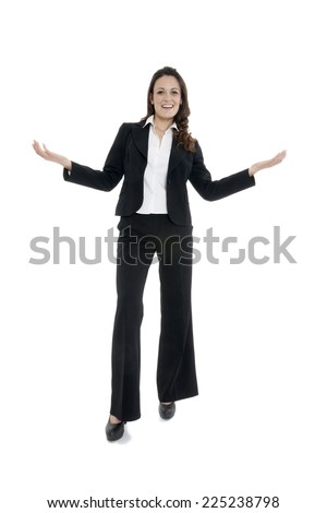 Woman leader, manager makes the workout. hands up. on white - stock photo