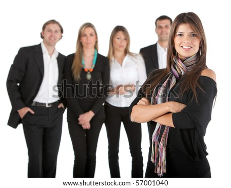 Woman leading a business team isolated over a white background
