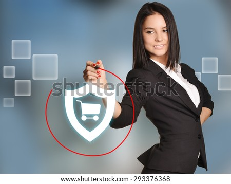 Woman leads round a red marker icon shield cart.