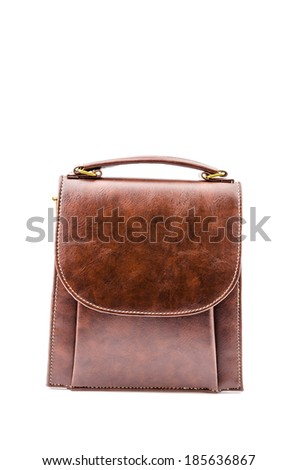 Woman leather bag isolated white background