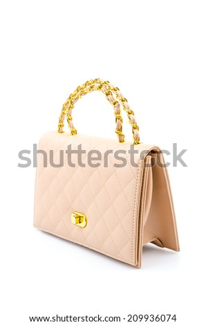 Woman leather bag isolated white background - stock photo