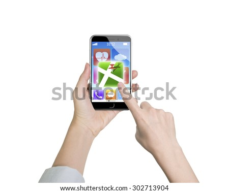 Woman left hand holding smart phone, right finger touching map icon, isolated on white. - stock photo