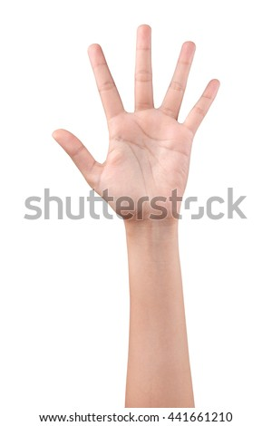 Woman left hand showing the five fingers isolated on a white background - stock photo