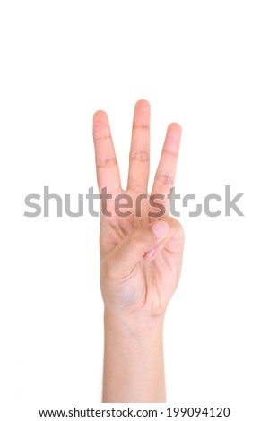 Woman left hand showing the three fingers isolated on a white - stock photo