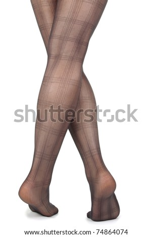 woman legs and feet with tights