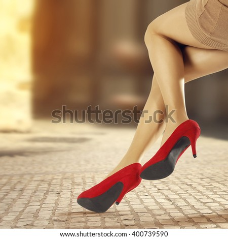 woman legs and heels  - stock photo