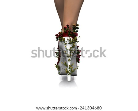 woman legs and shoes decorated with flowers - stock photo