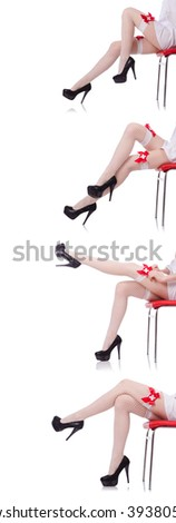 Woman legs in medical sexy fishnet stockings - stock photo