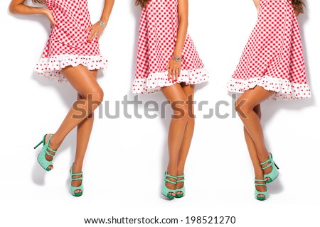 woman legs in summer high heel shoes and short red dress - stock photo