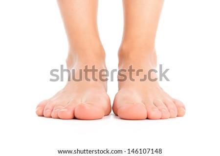 Woman legs isolated - stock photo