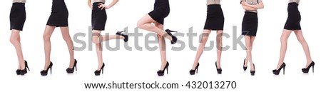 Woman legs isolated on the white - stock photo