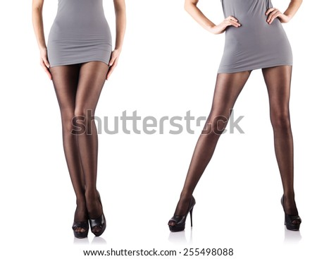 Woman legs isolated on the white background - stock photo