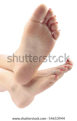 Woman legs isolated over white - stock photo