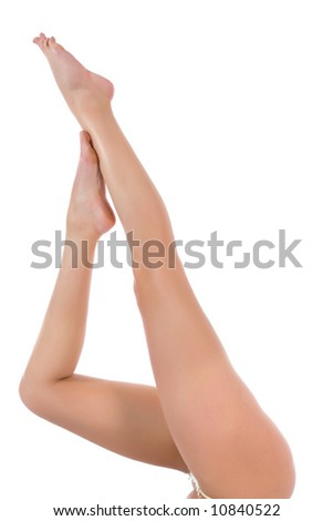 Woman legs on white background