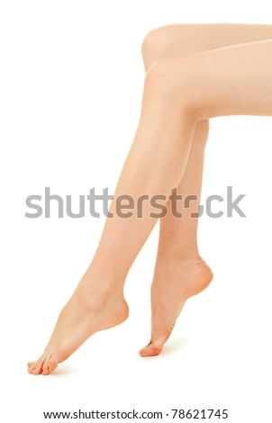 woman legs over white background - stock photo