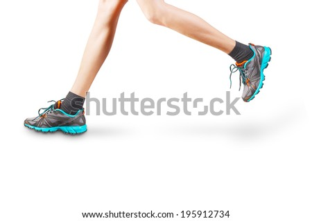 Woman legs running isolated on white background - stock photo