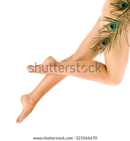 Woman legs with peacock feathers over white background. - stock photo