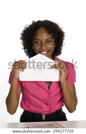Woman Licking Envelope